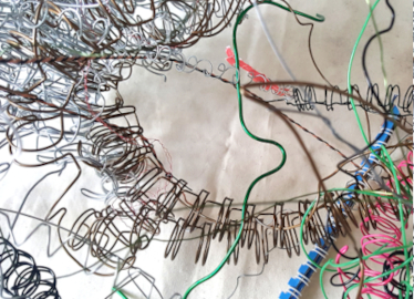 Recycled spiral wires from discarded sketchbooks and notebooks
