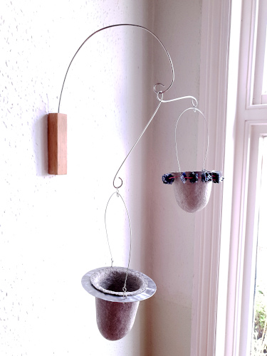 Vessels in upcycled aluminium disc & nylon offcuts frames