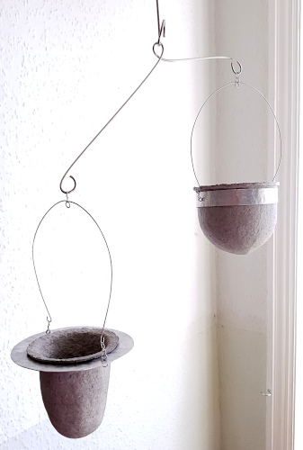 Suspended vessels for trailing succulents by Balanced-Earth