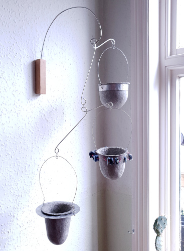 Vessels in upcycled nylon, aluminium disc & band frames