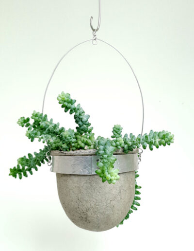 Planted handmade paper pulp vessel in aluminium and stainless steel frame