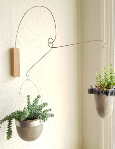 Two planted paper pulp vessels suspended from oak wall mount